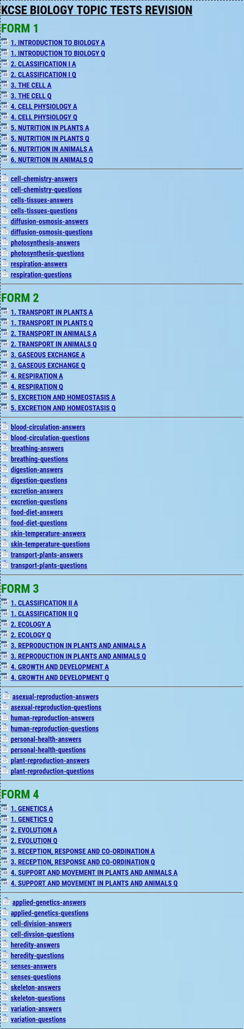 KCSE TOPIC TESTS » KCSE REVISION