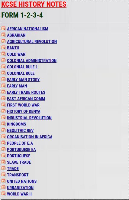KCSE HISTORY NOTES » KCSE REVISION