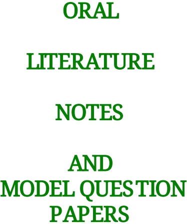 ORAL LITERATURE NOTES