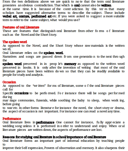 KCSE ORAL LITERATURE NOTES » KCSE REVISION