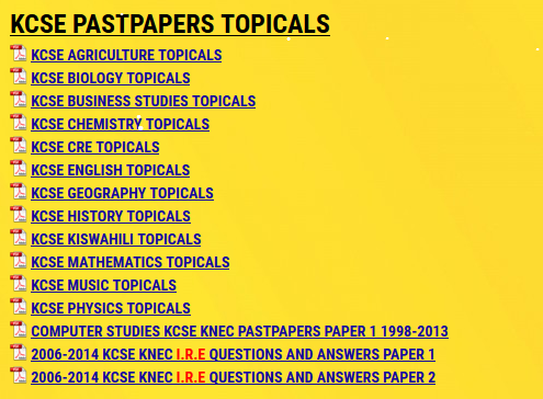 KCSE PASTPAPERS TOPICALS » KCSE REVISION