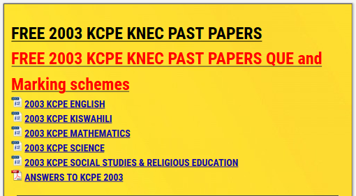 FREE 2003 KCPE KNEC PAST PAPERS » KCSE REVISION