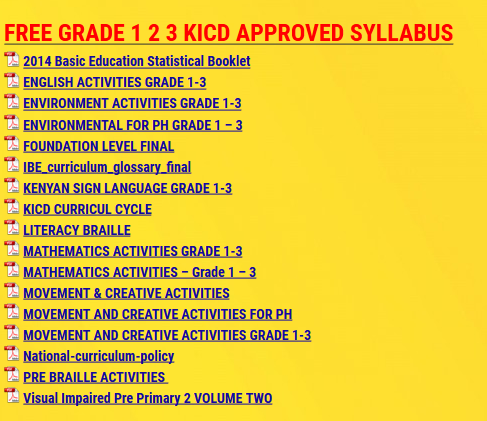 FREE GRADE 1 2 3 KICD APPROVED SYLLABUS - KCSE ONLINE