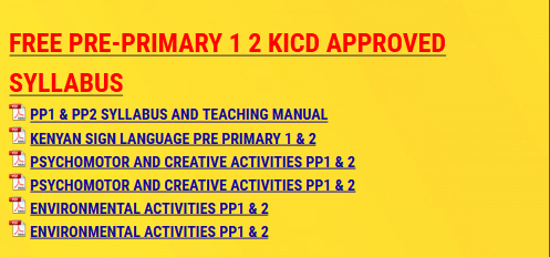 FREE PRE-PRIMARY 1 2 KICD APPROVED SYLLABUS - KCSE ONLINE