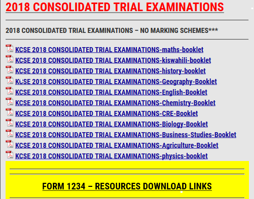2018 CONSOLIDATED TRIAL EXAMINATIONS » KCSE REVISION