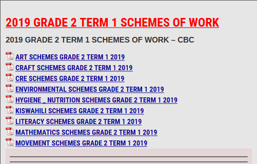 2019 GRADE 2 TERM 1 SCHEMES OF WORK - KCSE REVISION