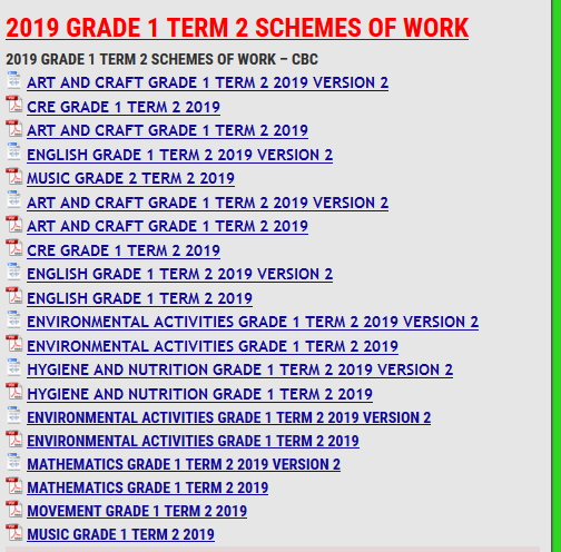 2019 GRADE 1 TERM 2 SCHEMES OF WORK - KCSE REVISION