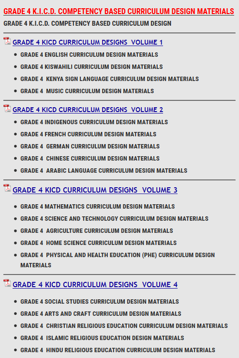 GRADE 4 K I C D COMPETENCY BASED CURRICULUM DESIGN MATERIALS - KCSE ONLINE
