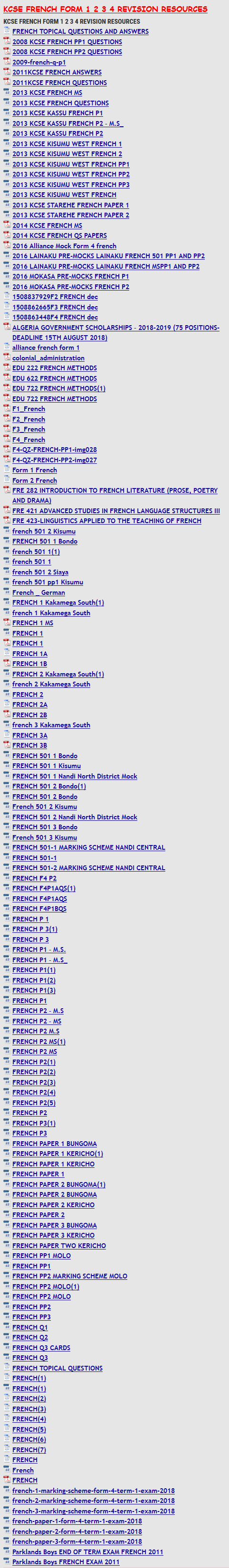 FREE KCSE FRENCH FORM 1 2 3 4 REVISION RESOURCES » KCSE REVISION
