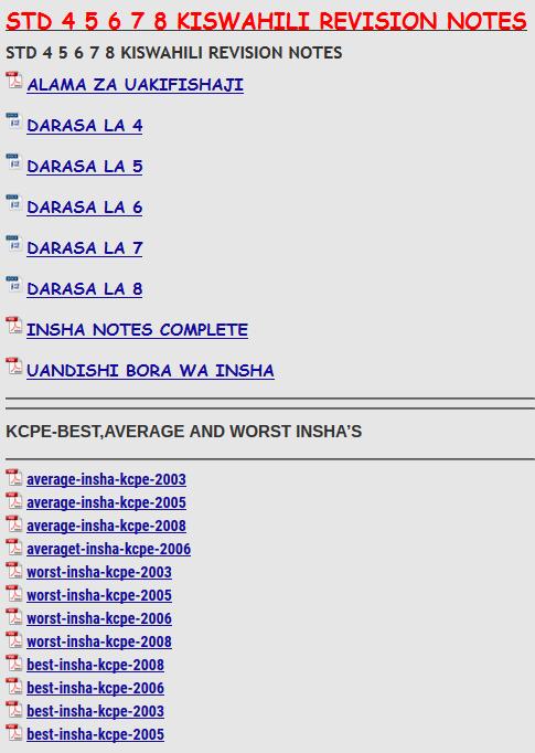 STD 4 5 6 7 8 KISWAHILI REVISION NOTES - KCSE REVISION