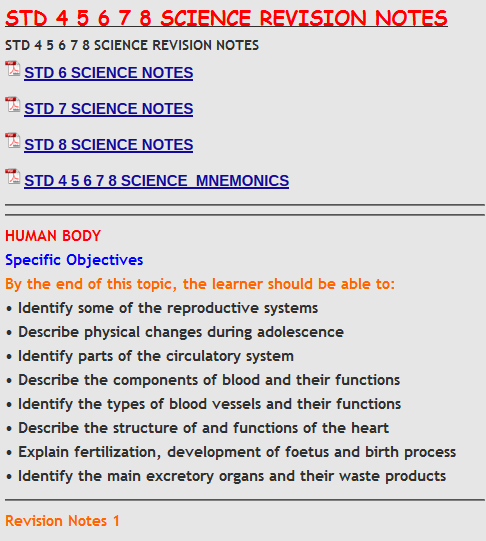 STD 4 5 6 7 8 SCIENCE REVISION NOTES - KCSE REVISION