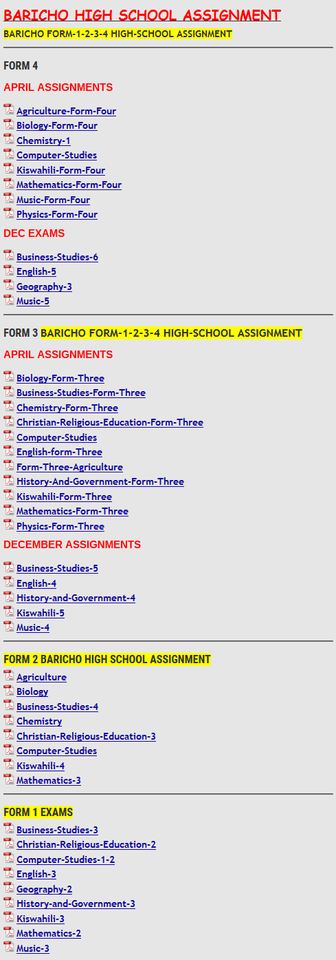 BARICHO HIGH SCHOOL ASSIGNMENT » KCSE REVISION
