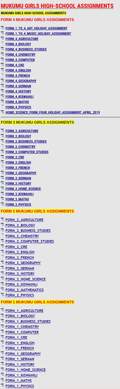 MUKUMU GIRLS HIGH-SCHOOL ASSIGNMENTS » KCSE REVISION