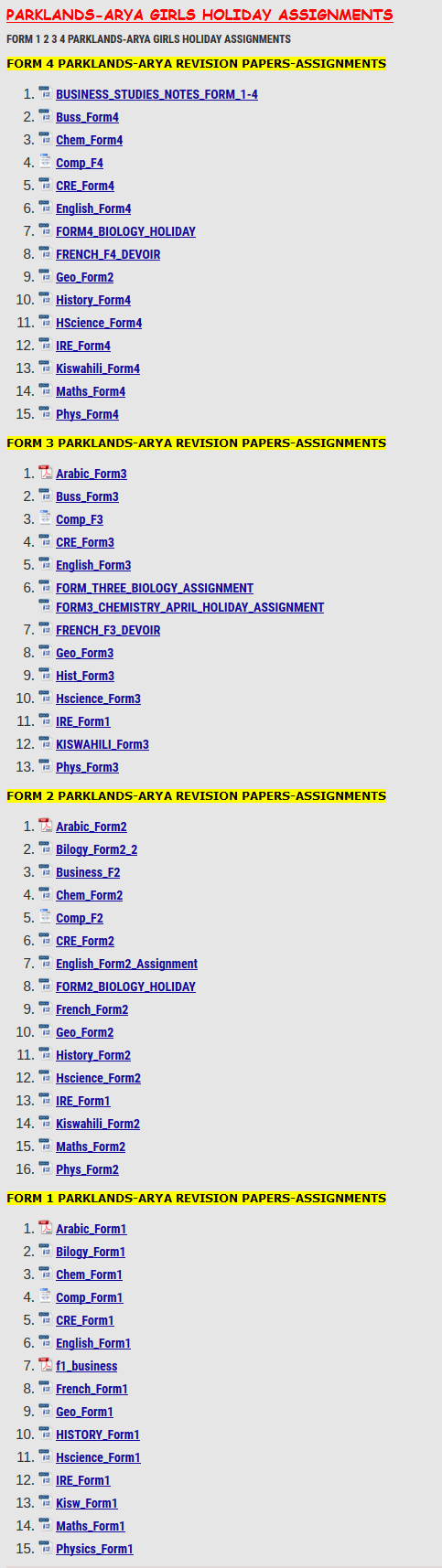 PARKLANDS-ARYA GIRLS HOLIDAY ASSIGNMENTS » KCSE REVISION