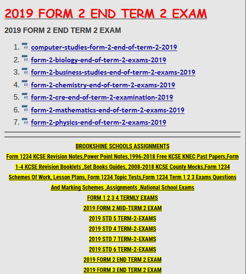 FORM 1 2 3 4 TERMLY EXAMS » KCSE REVISION