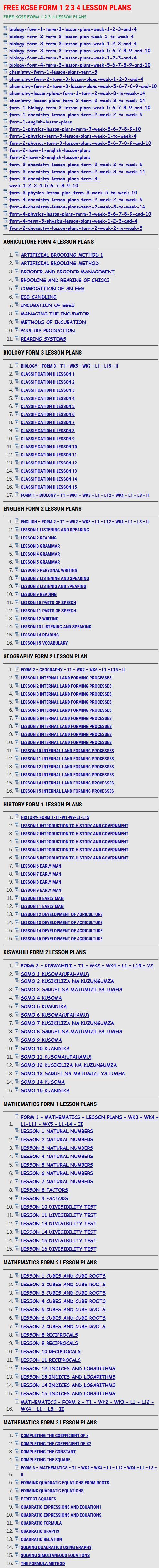 FREE KCSE FORM 1 2 3 4 LESSON PLANS » KCSE REVISION