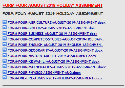 FORM FOUR AUGUST 2019 HOLIDAY ASSIGNMENT » KCSE REVISION