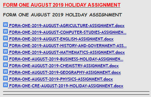 FORM ONE AUGUST 2019 HOLIDAY ASSIGNMENT » KCSE REVISION