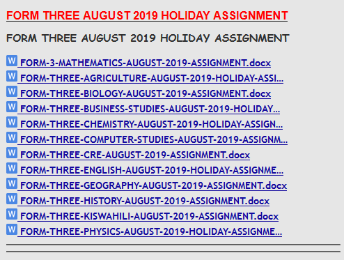 FORM THREE AUGUST 2019 HOLIDAY ASSIGNMENT