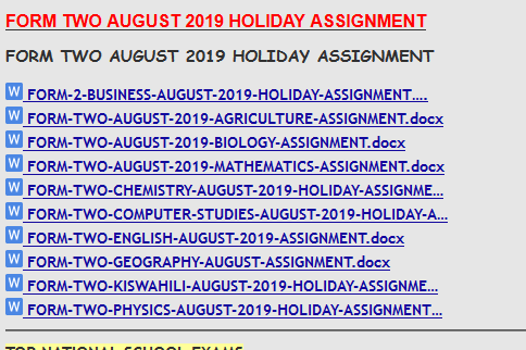 FORM TWO AUGUST 2019 HOLIDAY ASSIGNMENT