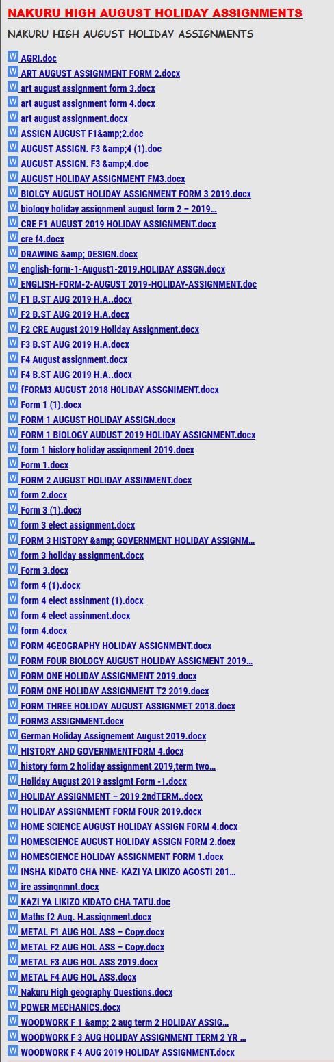 NAKURU HIGH AUGUST HOLIDAY ASSIGNMENTS