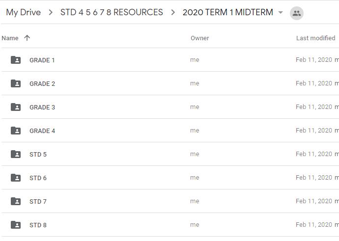 2020 STD 5 6 7 8 MID TERM EXAMS