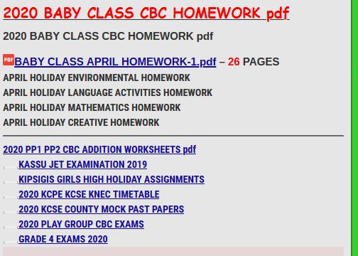2020 BABY CLASS CBC HOMEWORK pdf