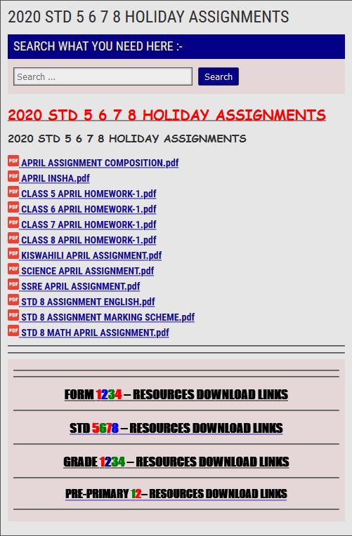 2020 STD 5 6 7 8 HOLIDAY ASSIGNMENTS