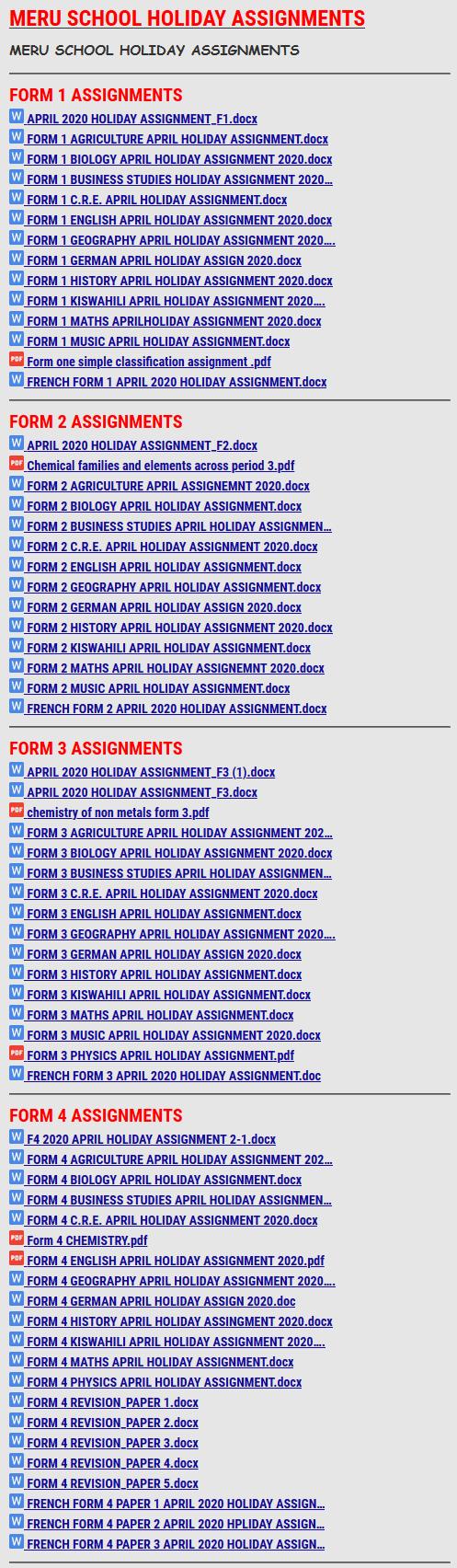 MERU SCHOOL HOLIDAY ASSIGNMENTS