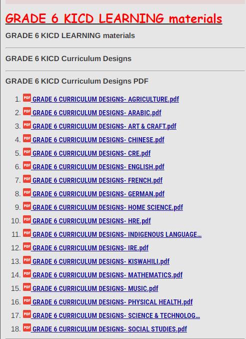 GRADE 6 KICD Curriculum Designs PDF